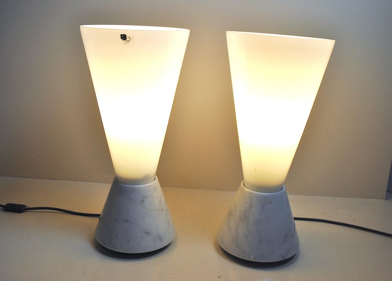 Set of 2 Midcentury Italian Lamp in Murano Glass and Marble Base, 1970s For Sale 13
