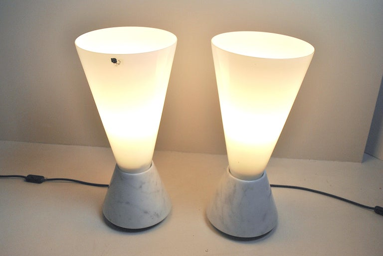 Set of 2 Midcentury Italian Lamp in Murano Glass and Marble Base, 1970s For Sale 14