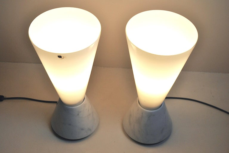 Set of 2 Midcentury Italian Lamp in Murano Glass and Marble Base, 1970s For Sale 15