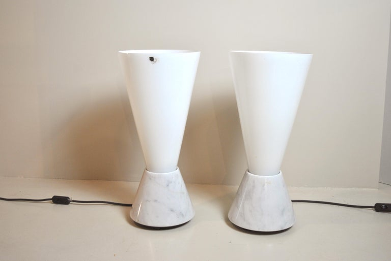 Mid-Century Modern Set of 2 Midcentury Italian Lamp in Murano Glass and Marble Base, 1970s For Sale