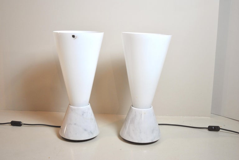 Set of 2 Midcentury Italian Lamp in Murano Glass and Marble Base, 1970s In Good Condition For Sale In bari, IT