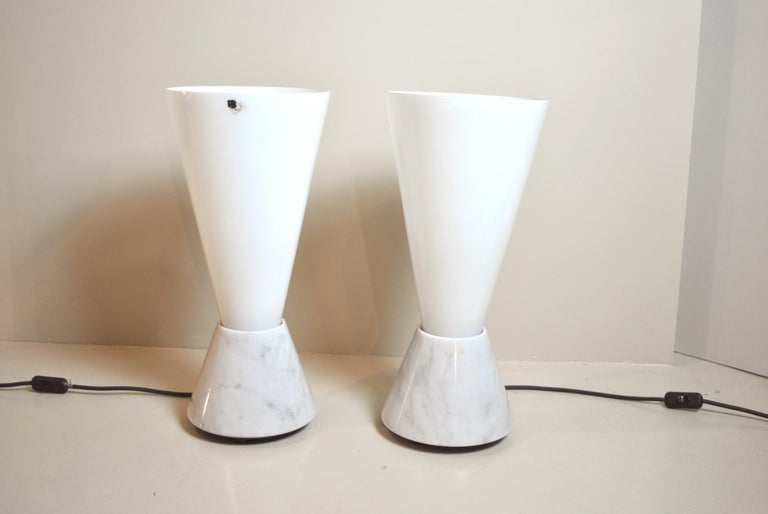 Late 20th Century Set of 2 Midcentury Italian Lamp in Murano Glass and Marble Base, 1970s For Sale