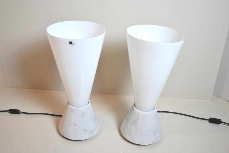 Set of 2 Midcentury Italian Lamp in Murano Glass and Marble Base, 1970s For Sale 1