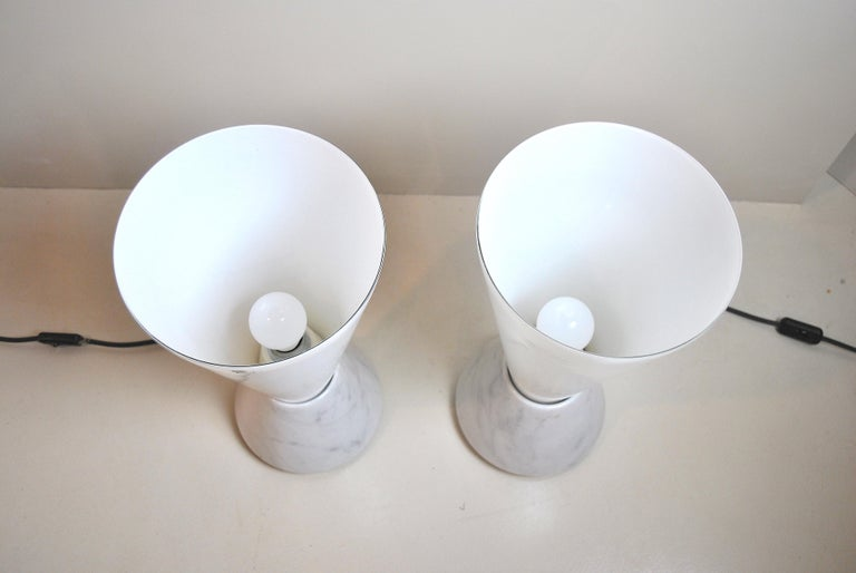 Set of 2 Midcentury Italian Lamp in Murano Glass and Marble Base, 1970s For Sale 3