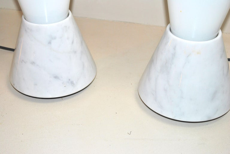 Set of 2 Midcentury Italian Lamp in Murano Glass and Marble Base, 1970s For Sale 4
