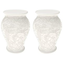 Set of 2 Ming White Stool / Side Tables by Studio Job, in Stock in Los Angeles