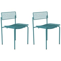 Set of 2 Minimalist Modern Stacking Rachel Chairs in Peacock Blue