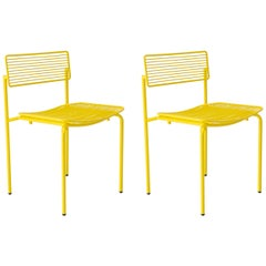 Set of 2 Minimalist Modern Stacking Rachel Chairs in Yellow