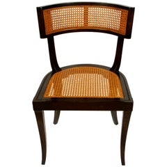 Set of 2 Modern Klismos Style Caned Curved Side Chairs