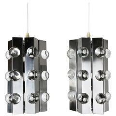 Set of 2 Modernist Silver Sputnik Hanging Light, Cosack Lights, 1970s