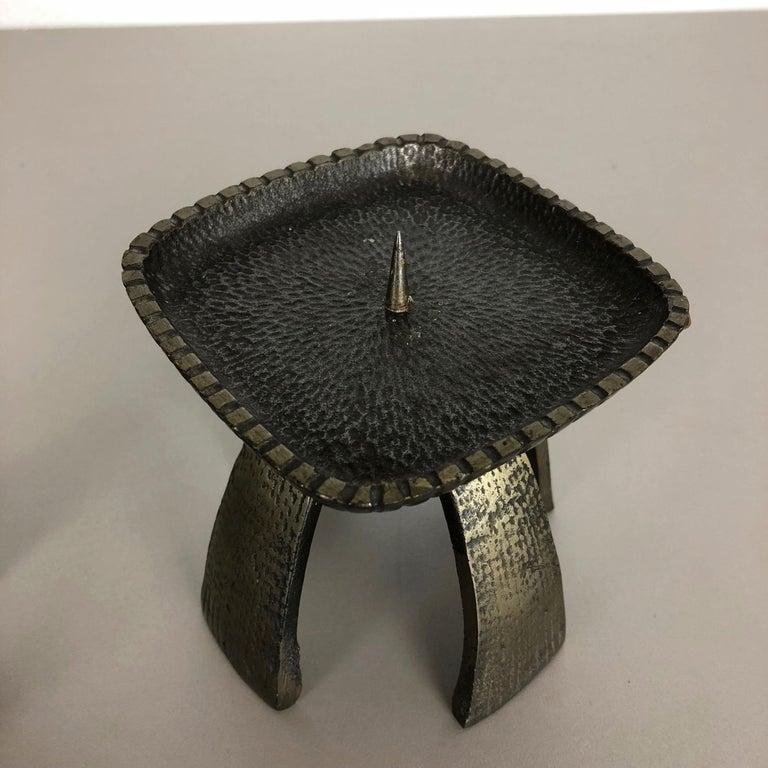 Set of 2 Modernist Vintage 1970s Sculptural Brutalist Metal Candleholder, France For Sale 4