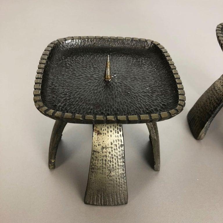 Set of 2 Modernist Vintage 1970s Sculptural Brutalist Metal Candleholder, France For Sale 2
