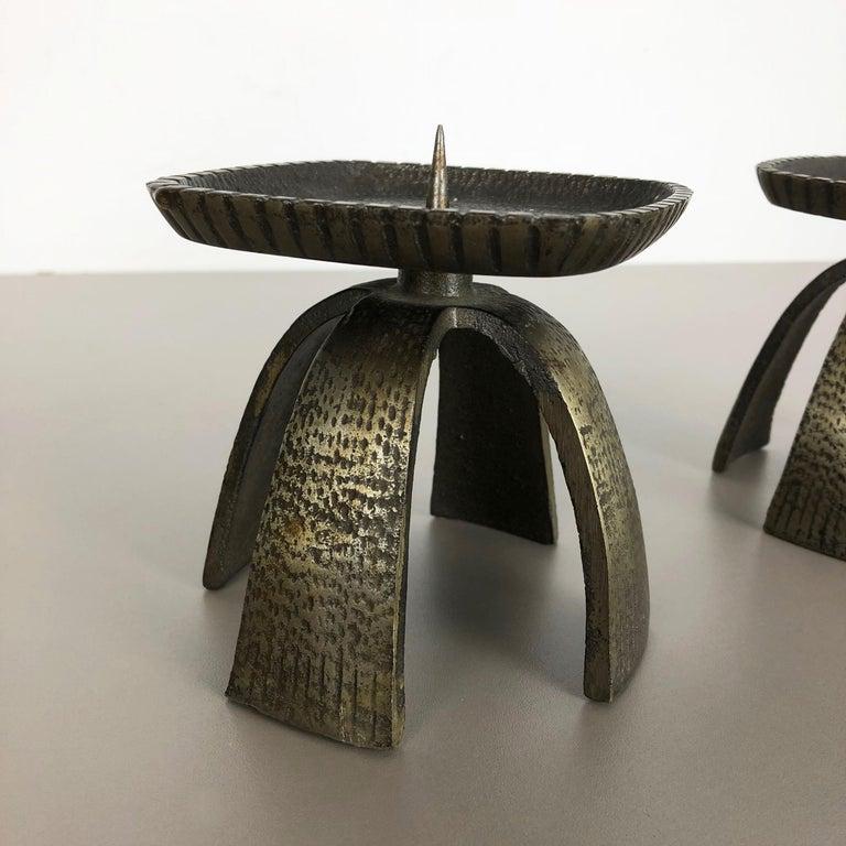 Set of 2 Modernist Vintage 1970s Sculptural Brutalist Metal Candleholder, France For Sale 3