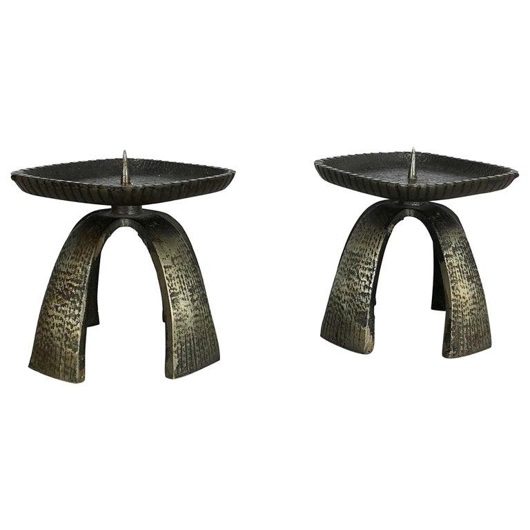 Set of 2 Modernist Vintage 1970s Sculptural Brutalist Metal Candleholder, France For Sale