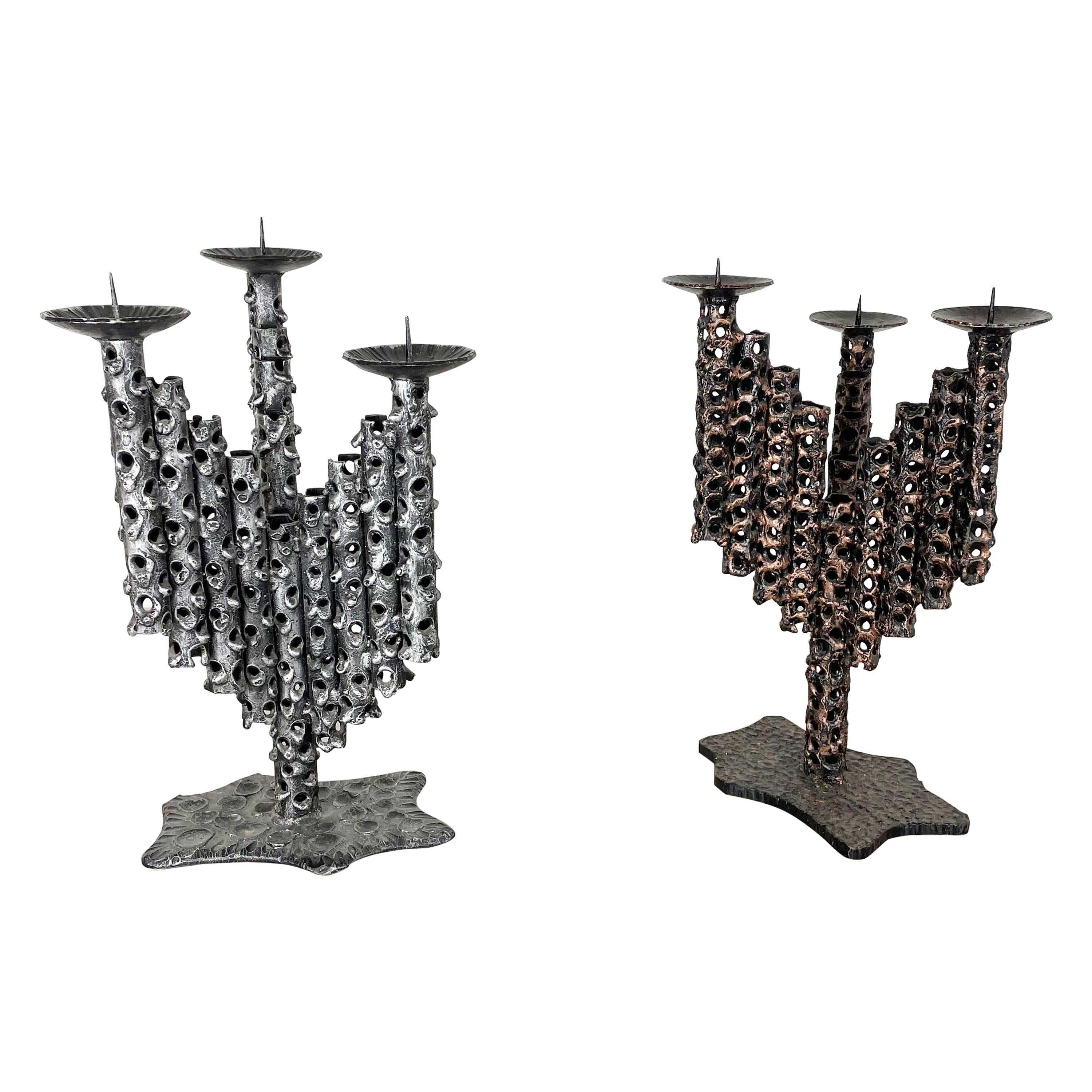 Set of 2 Modernist Vintage 1970s Sculptural Brutalist Metal Candleholder, France