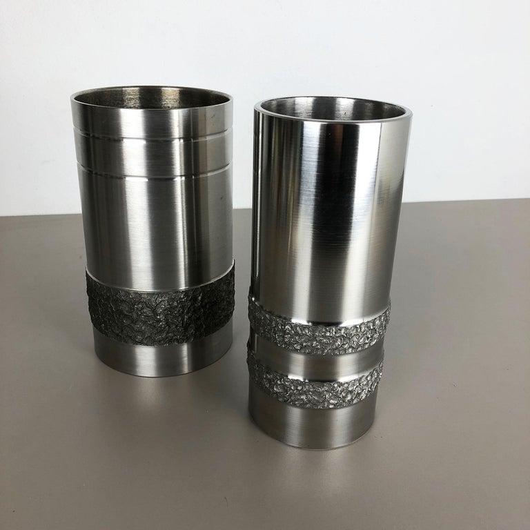 Set of 2 Modernist Vintage 1970s Sculptural Brutalist Steel Vases, Germany 1970s For Sale 9
