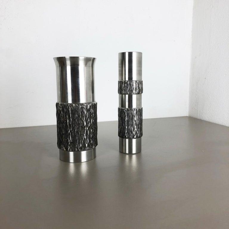 Set of 2 Modernist Vintage 1970s Sculptural Brutalist Steel Vases, Germany 1970s For Sale 13