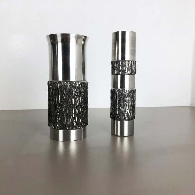 Set of 2 Modernist Vintage 1970s Sculptural Brutalist Steel Vases, Germany 1970s In Distressed Condition For Sale In Kirchlengern, DE