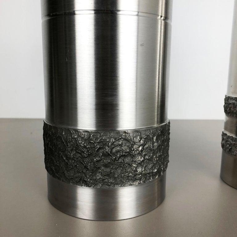 20th Century Set of 2 Modernist Vintage 1970s Sculptural Brutalist Steel Vases, Germany 1970s For Sale