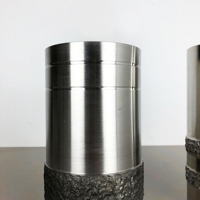 Set of 2 Modernist Vintage 1970s Sculptural Brutalist Steel Vases, Germany 1970s For Sale 1