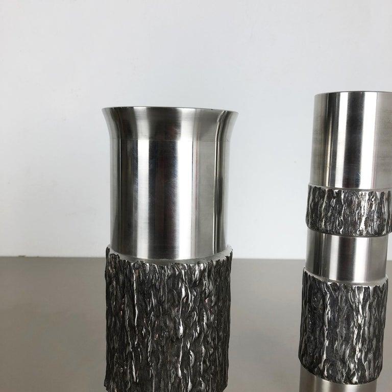 Set of 2 Modernist Vintage 1970s Sculptural Brutalist Steel Vases, Germany 1970s For Sale 2