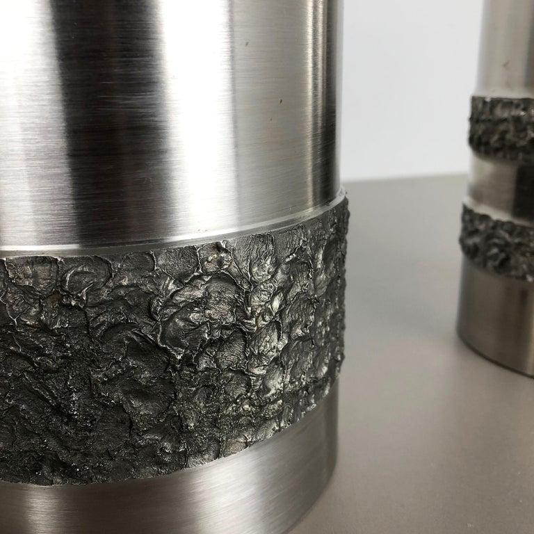 Set of 2 Modernist Vintage 1970s Sculptural Brutalist Steel Vases, Germany 1970s For Sale 3
