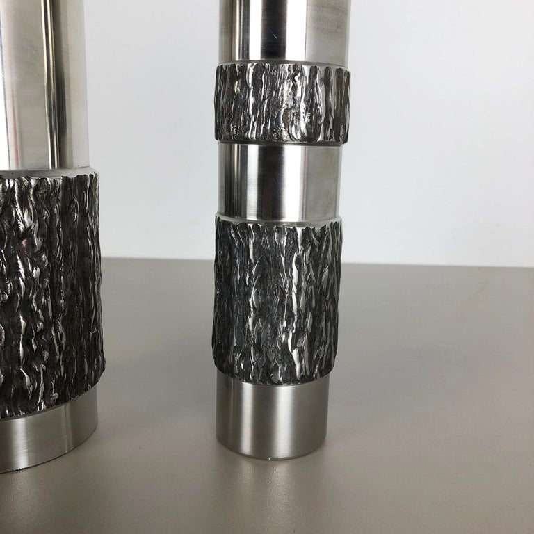 Set of 2 Modernist Vintage 1970s Sculptural Brutalist Steel Vases, Germany 1970s For Sale 4