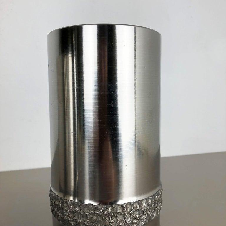Set of 2 Modernist Vintage 1970s Sculptural Brutalist Steel Vases, Germany 1970s For Sale 5
