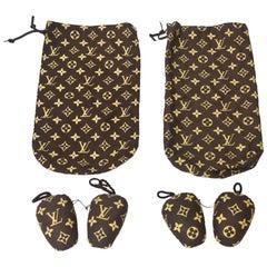 Set of 2 Monogramed Louis Vuitton Traveling Shoe Bags Shoe Stuffers Vintage