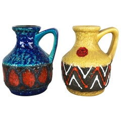 "Set of 2 Multi-Color Fat Lava Op Art Pottery Vase ""215-17"" Bay Ceramics, Germany"