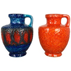 Set of 2 Multi-Color Fat Lava Op Art Pottery Vase Made Bay Ceramics, Germany