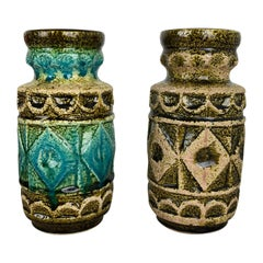 Set of 2 Multi-Color Op Art Pottery Floor Vase by Bay Ceramics, Germany, 1960s