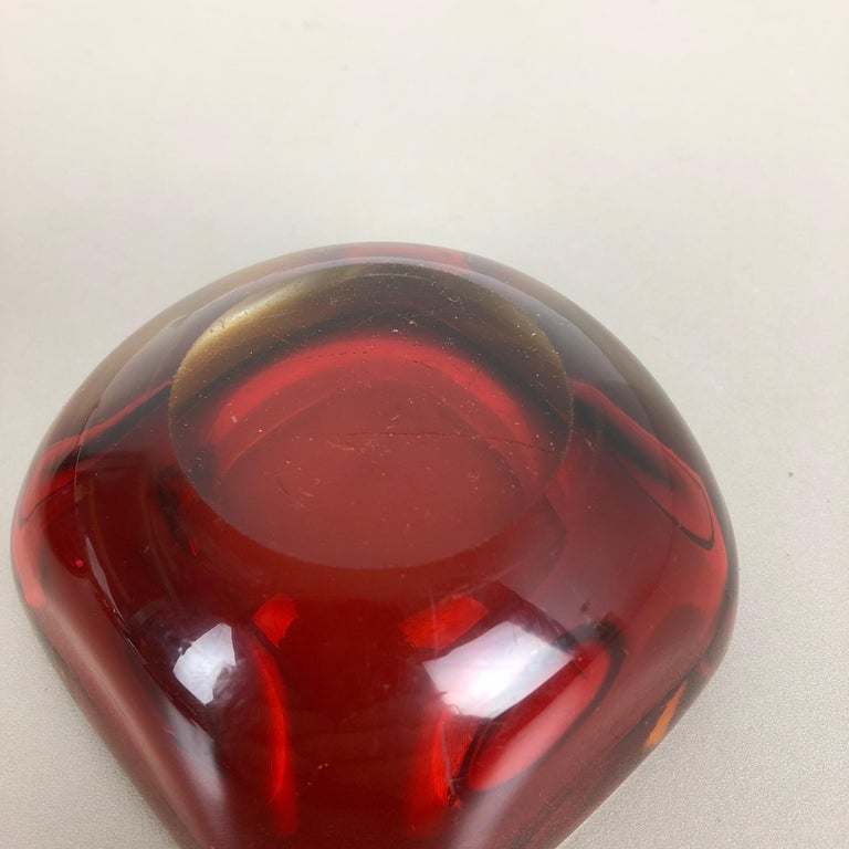 20th Century Set of 2 Murano red Glass Sommerso Bowl Shells Ashtray Element, Italy, 1970s For Sale