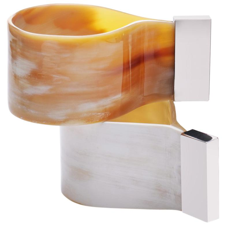 Set of 2 Napkin Rings in Corno Italiano and Stainless Steel, Mod. 208