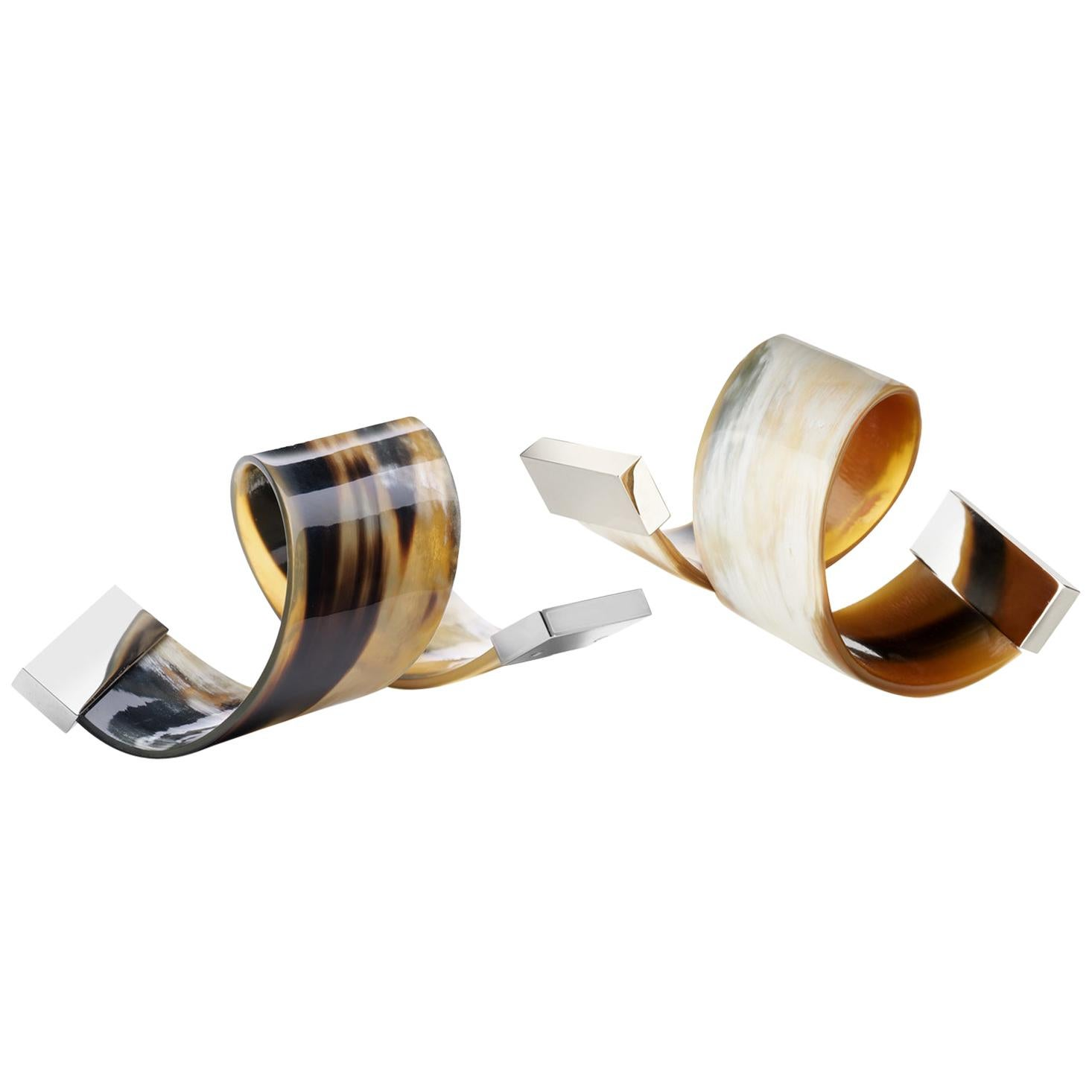 Set of 2 Napkin Rings in Corno Italiano and Stainless Steeel, Mod. 209
