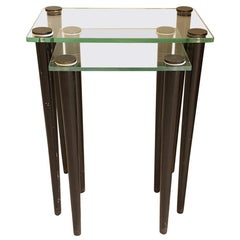 Set of 2 Nesting Tables, Mid-Century Modern, Glass & Black Wood Legs, Italy 1960
