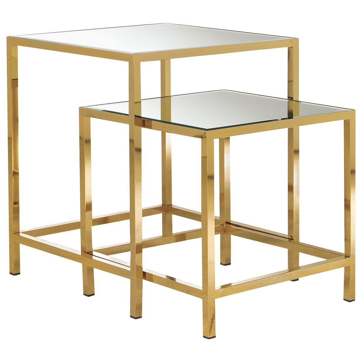 Set of 2 Nesting Tables with Mirror