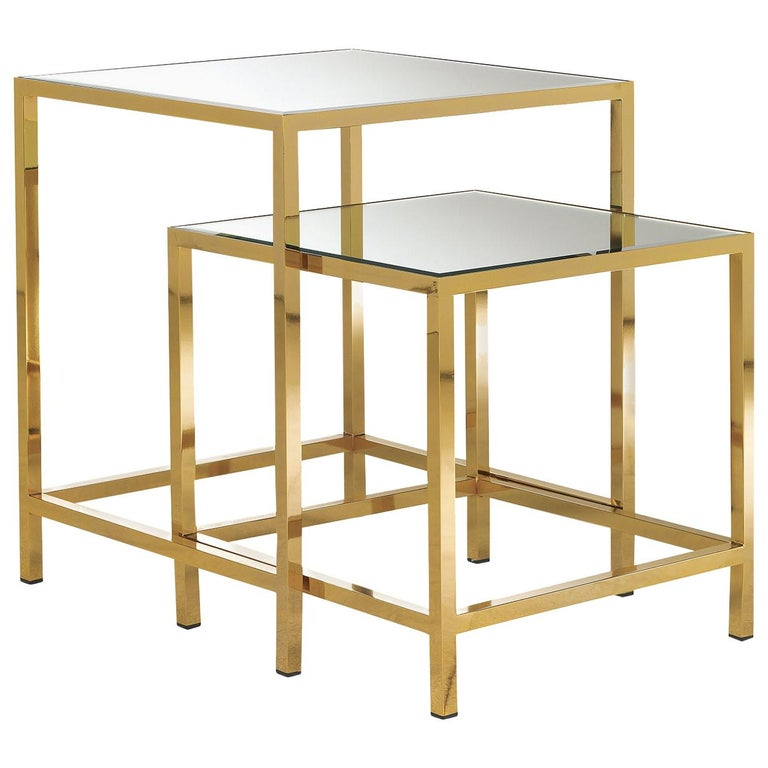 Set of 2 Nesting Tables with Mirror For Sale