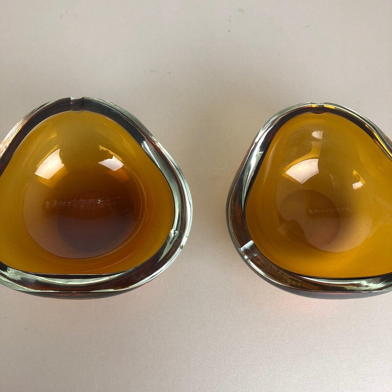 20th Century Set of 2 New Old Stock Murano Ashtray Elements Antonio da Ros for Cenedese 1960s For Sale