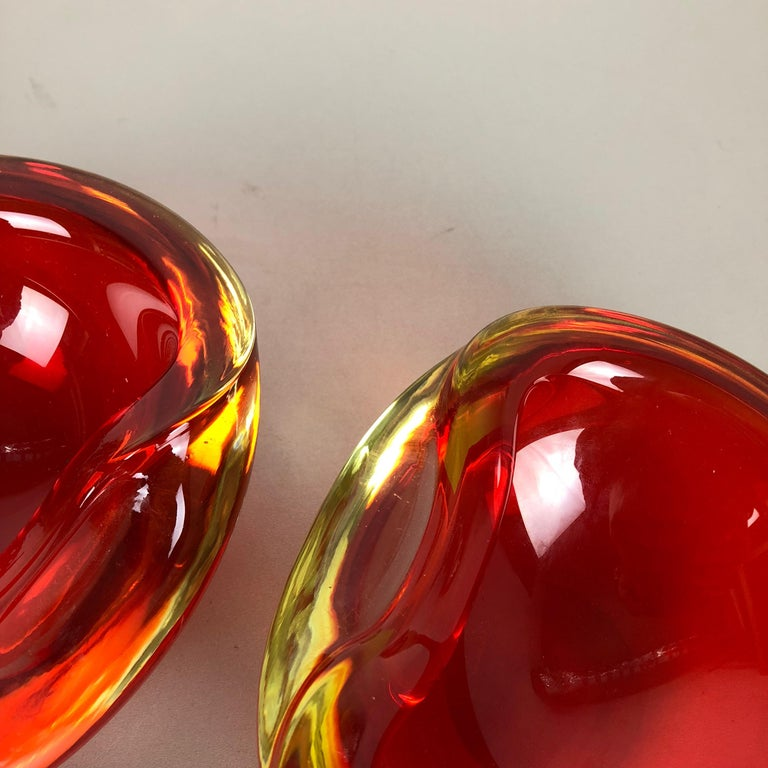 Set of 2 New Old Stock, Murano Sommerso Glass Shell Bowl Cenedese Vetri, 1960s For Sale 7