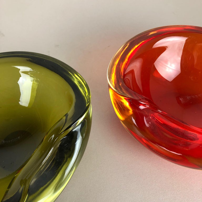 Set of 2 New Old Stock, Murano Sommerso Glass Shell Bowl Cenedese Vetri, 1960s For Sale 8