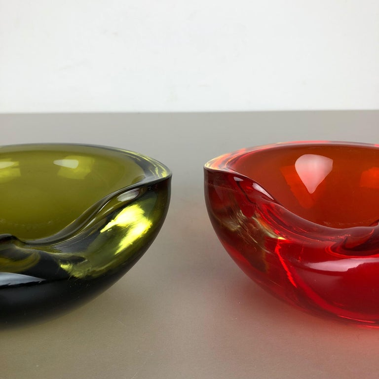 Set of 2 New Old Stock, Murano Sommerso Glass Shell Bowl Cenedese Vetri, 1960s For Sale 11