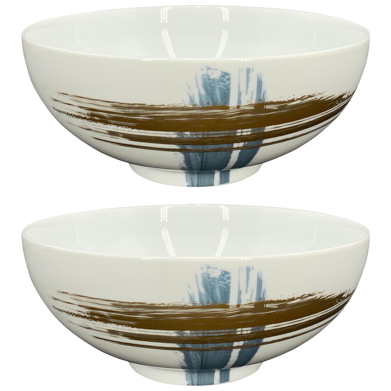 Set of 2 Noodle Salad Bowl Artisan Brush André Fu Living Tableware New