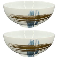 Set of 2 Noodle Salad Bowl Artisan Brush André Fu Living Tableware New