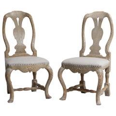 Set of 2 Northern Swedish Rococo Pine Chairs