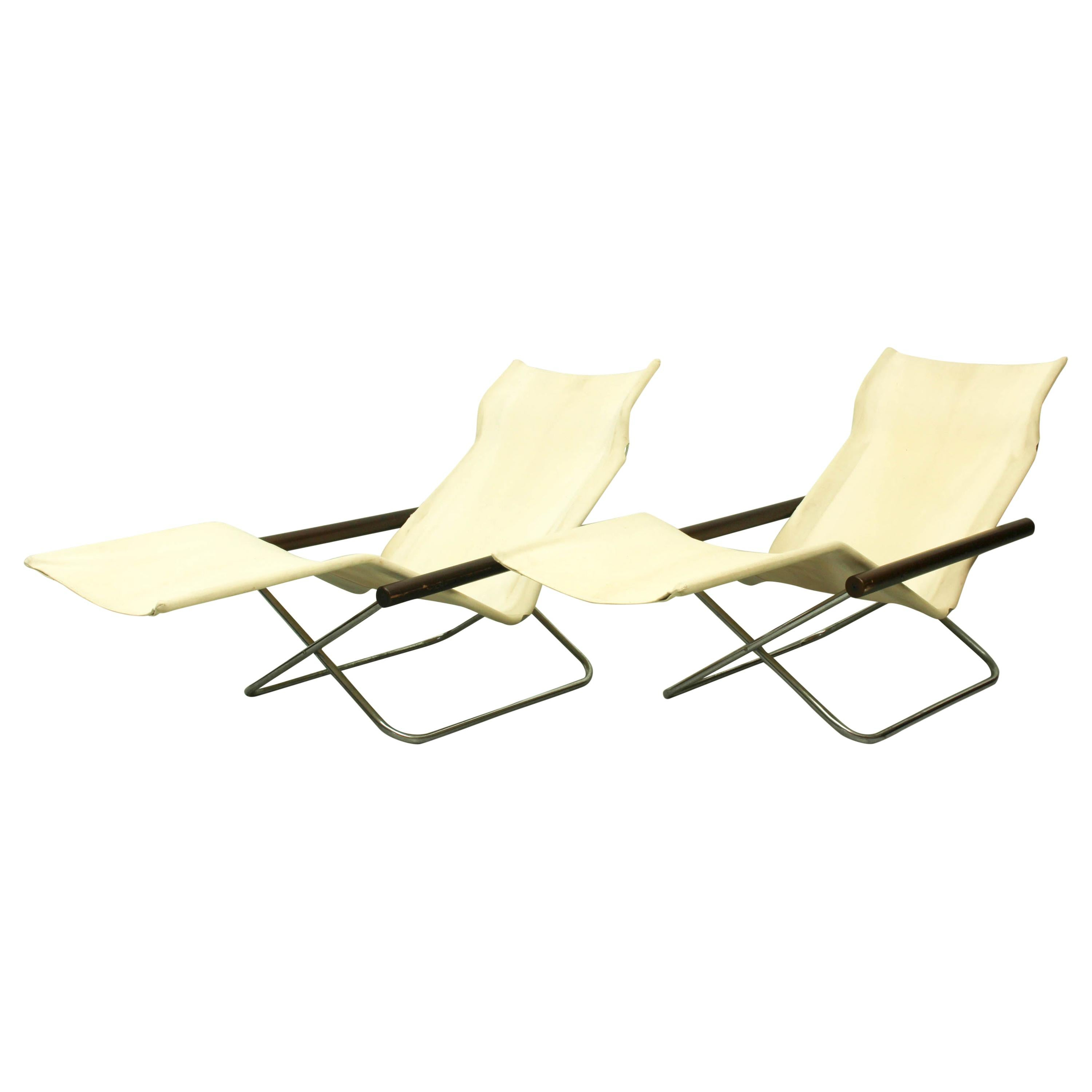 Set of 2 NY Chaise Lounge 'foldable!' by Takeshi Nii, Japan, 1950s