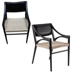 Set of 2 O Chairs in Rattan and Walnut for Dining and Desk by ATRA