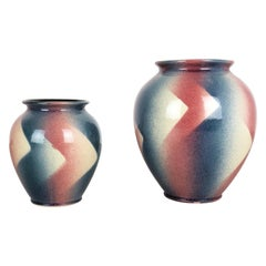 Set of 2 Op Art Spritzdekor Bauhaus Vases Made by Bay Ceramics, Germany, 1950s
