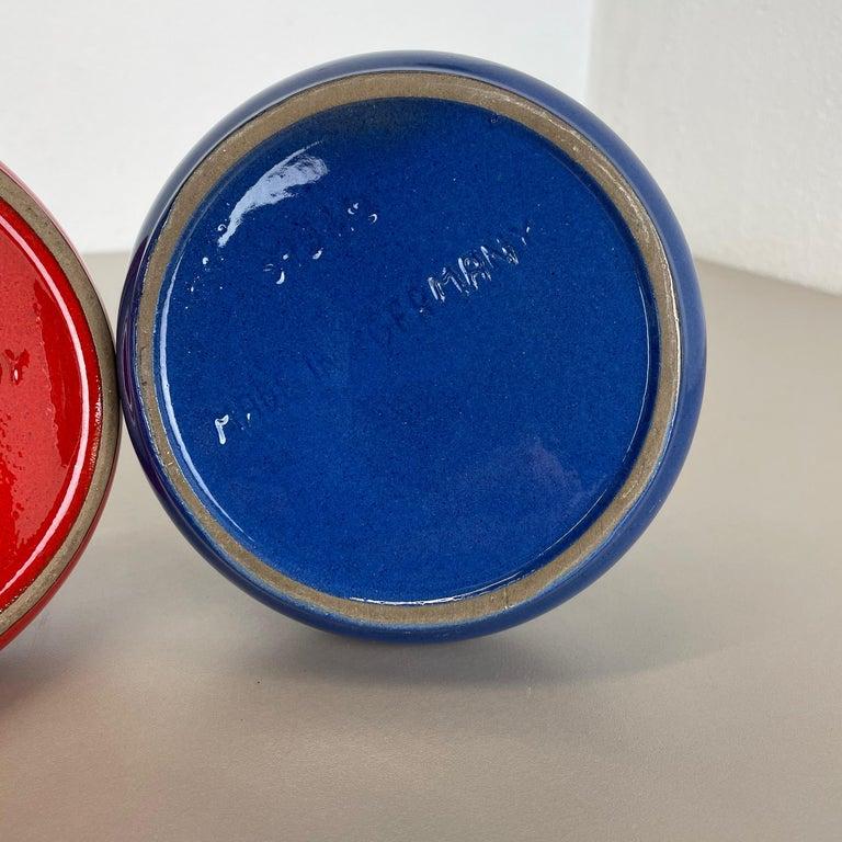 Set of 2 Original 1970 Ceramic Studio Pottery Vase by Marei Ceramics, Germany For Sale 13