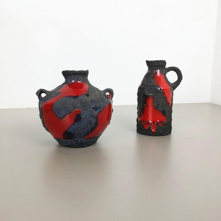 Mid-Century Modern Set of 2 Original 1970 Ceramic Studio Pottery Vase by Marei Ceramics, Germany For Sale